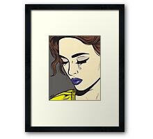 Brunette Crying Comic Girl Framed Print