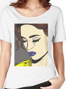 Brunette Crying Comic Girl Women's Relaxed Fit T-Shirt