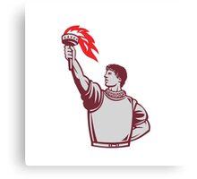Spanish Conquistador Raising Up Torch Retro Canvas Print