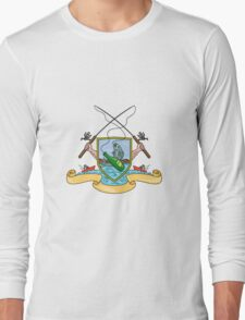 Fishing Rod Reel Hooking Fish Beer Bottle Coat of Arms Drawing Long Sleeve T-Shirt