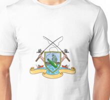 Fishing Rod Reel Hooking Fish Beer Bottle Coat of Arms Drawing Unisex T-Shirt