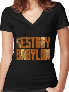 Bad Brains Destroy Babylon Women's Fitted V-Neck T-Shirt