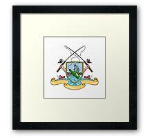 Fishing Rod Reel Hooking Fish Beer Bottle Coat of Arms Drawing Framed Print