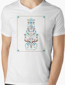 La Vie & La Mort – Turquoise and Brown Mens V-Neck T-Shirt