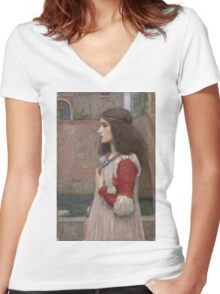 John William Waterhouse - Juliet. Woman portrait: sensual woman, girly art, female style, pretty women, femine, beautiful dress, cute, creativity, love, sexy  Women's Fitted V-Neck T-Shirt