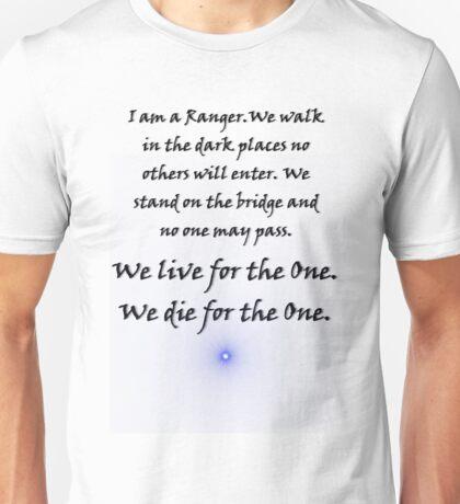 Ranger Oath from Babylon 5 (whitevbackground) Unisex T-Shirt