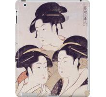 Kitagawa Utamaro - Three Beauties Of The Present Day. Woman portrait: sensual woman, geisha, female style, pretty women, femine,  eastern, beautiful dress, headdress, silk, sexy lady,  mirror iPad Case/Skin