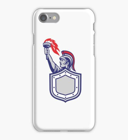 Greek Warrior Shield Holding Up Torch Retro iPhone Case/Skin