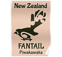 FANTAIL New Zealand /Aotearoa native bird Poster