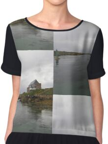 Blue Boat - Rutland Island - Donegal -  Ireland Chiffon Top
