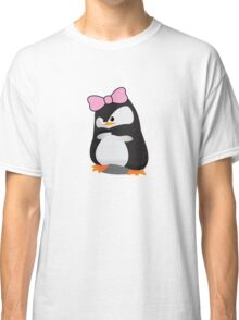 Angry Girly Cute Penguin with Pink Bow Classic T-Shirt