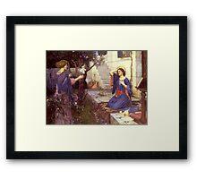 John William Waterhouse - The Annunciation. Woman portrait: sensual woman, girly art, female style, pretty women, femine, beautiful dress, cute,  love Framed Print