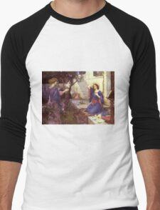 John William Waterhouse - The Annunciation. Woman portrait: sensual woman, girly art, female style, pretty women, femine, beautiful dress, cute,  love Men's Baseball ¾ T-Shirt