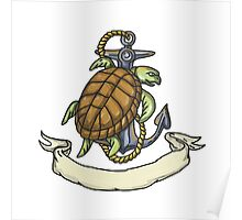 Ridley Sea Turtle on Anchor Drawing Poster