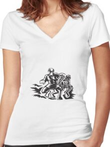 Tiitii Wrestling God of Earthquake Woodcut Women's Fitted V-Neck T-Shirt