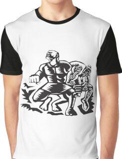 Tiitii Wrestling God of Earthquake Woodcut Graphic T-Shirt