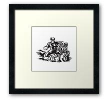 Tiitii Wrestling God of Earthquake Woodcut Framed Print