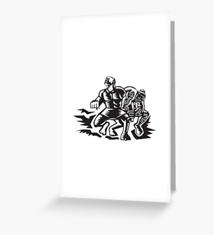 Tiitii Wrestling God of Earthquake Woodcut Greeting Card