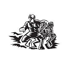 Tiitii Wrestling God of Earthquake Woodcut Photographic Print