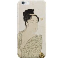 Kitagawa Utamaro - Ten Physiognomic Types Of Women. Woman portrait: sensual woman, geisha, female style, pretty women, femine,  eastern, beautiful dress, headdress, silk, sexy lady,  mirror iPhone Case/Skin