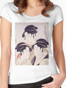 Kitagawa Utamaro - Three Beauties Of The Present Day. Woman portrait: sensual woman, geisha, female style, pretty women, femine,  eastern, beautiful dress, headdress, silk, sexy lady,  mirror Women's Fitted Scoop T-Shirt