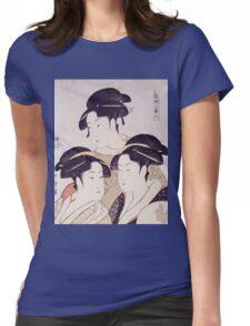 Kitagawa Utamaro - Three Beauties Of The Present Day. Woman portrait: sensual woman, geisha, female style, pretty women, femine,  eastern, beautiful dress, headdress, silk, sexy lady,  mirror Womens Fitted T-Shirt