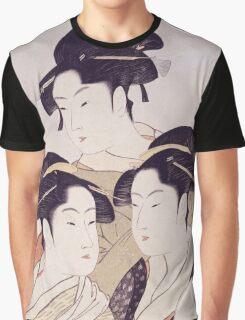 Kitagawa Utamaro - Three Beauties Of The Present Day. Woman portrait: sensual woman, geisha, female style, pretty women, femine,  eastern, beautiful dress, headdress, silk, sexy lady,  mirror Graphic T-Shirt