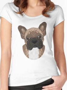 Brown Frenchie Puppy 001 Women's Fitted Scoop T-Shirt