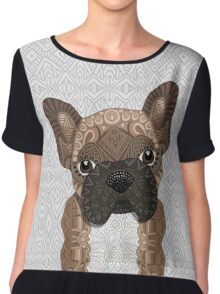 Brown Frenchie Puppy 001 Chiffon Top