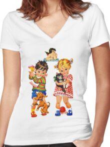 Boy Girl Angel Women's Fitted V-Neck T-Shirt