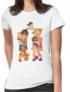 Boy Girl Angel Womens Fitted T-Shirt