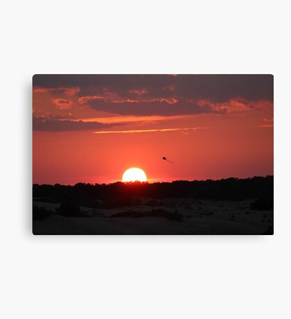 Sunset and Kite Canvas Print