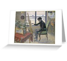 Lucien Pissarro - Interior Of The Studio. Boy portrait: cute boy, junior artist, child, beautiful, draw, smile, little, Interior,  studio Greeting Card