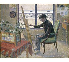 Lucien Pissarro - Interior Of The Studio. Boy portrait: cute boy, junior artist, child, beautiful, draw, smile, little, Interior,  studio Photographic Print
