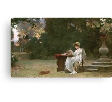 Marcus  Stone - Love At First Sight . Lovers portrait: lovers couple, woman and man, flirtation, garden, love relations, lovely couple, amorous, valentine's day, flowers, romance,  costume Canvas Print
