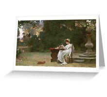 Marcus  Stone - Love At First Sight . Lovers portrait: lovers couple, woman and man, flirtation, garden, love relations, lovely couple, amorous, valentine's day, flowers, romance,  costume Greeting Card