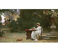 Marcus  Stone - Love At First Sight . Lovers portrait: lovers couple, woman and man, flirtation, garden, love relations, lovely couple, amorous, valentine's day, flowers, romance,  costume Photographic Print