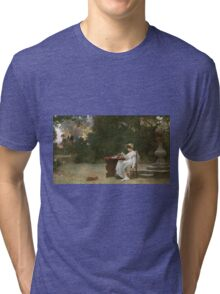 Marcus  Stone - Love At First Sight . Lovers portrait: lovers couple, woman and man, flirtation, garden, love relations, lovely couple, amorous, valentine's day, flowers, romance,  costume Tri-blend T-Shirt