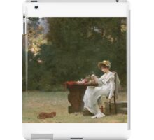 Marcus  Stone - Love At First Sight . Lovers portrait: lovers couple, woman and man, flirtation, garden, love relations, lovely couple, amorous, valentine's day, flowers, romance,  costume iPad Case/Skin