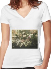 Maria Oakey Dewing - Garden In May. Still life with flowers: flowers, blossom, peony, Rose, floral flora, wonderful flower, plants, cute plant for kitchen interior, garden, pink Women's Fitted V-Neck T-Shirt