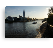 Sailing Up the Thames River in London, UK Canvas Print