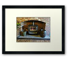 *Fireplace in Country Pub - Greendale, Vic. Australia* Framed Print