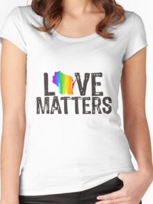 Love Matters, Wisconsin Women's Fitted Scoop T-Shirt
