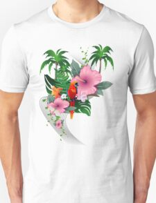 Funny parrot with flowers T-Shirt