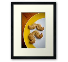 Pistachio & white choc chip moustache biscuits Framed Print