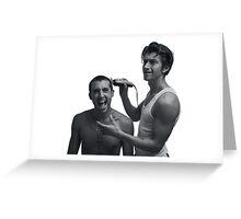 TLSP- Alex Turner shaving Miles Kane's head Greeting Card