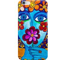 Flower Power Hand Drawn Face iPhone Case/Skin