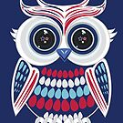 Patriotic Owl - Blue by Adamzworld