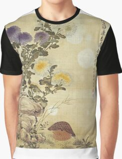 Ma Yuanyu - Chrysanthemums And Quail. Still life with flowers: flowers, blossom, Quail, Chrysanthemums, floral flora, wonderful flower, plants, cute plant for kitchen interior, garden,  Bird Graphic T-Shirt
