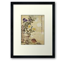 Ma Yuanyu - Chrysanthemums And Quail. Still life with flowers: flowers, blossom, Quail, Chrysanthemums, floral flora, wonderful flower, plants, cute plant for kitchen interior, garden,  Bird Framed Print